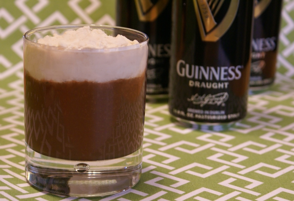 chocolate guinness pudding with guinness vanilla whipped cream