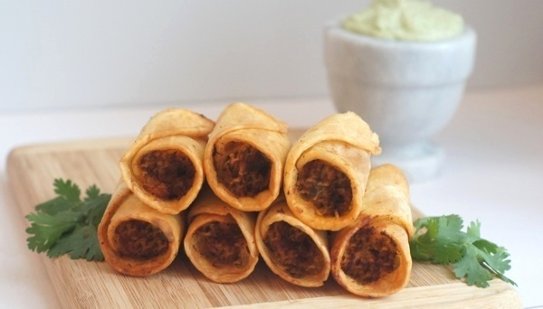 Chicken, Salsa, & Cheese Flautas with Avocado Cream Sauce from ...