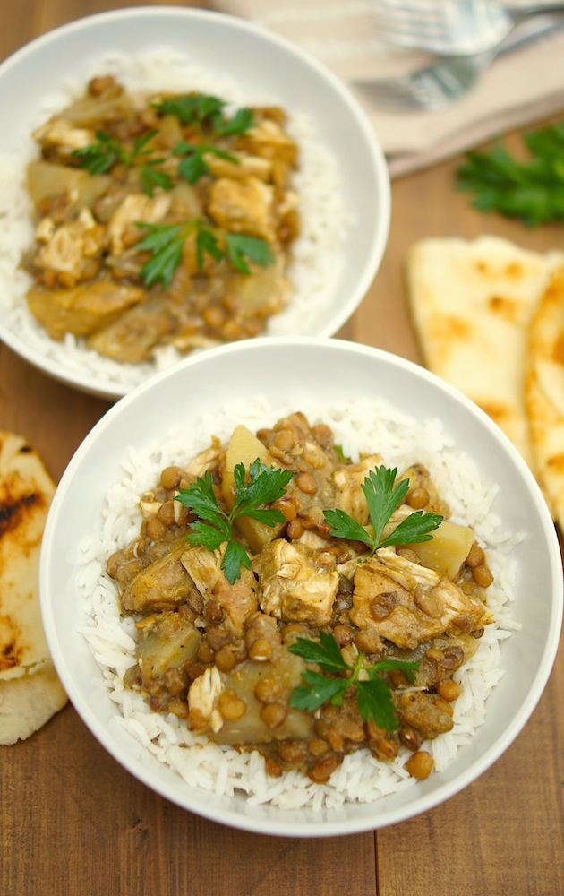 Slow-Cooker Curried Chicken, Potatoes + Lentils