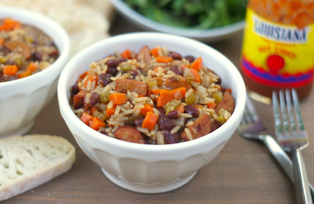 Quick Red Beans + Rice with Sausage