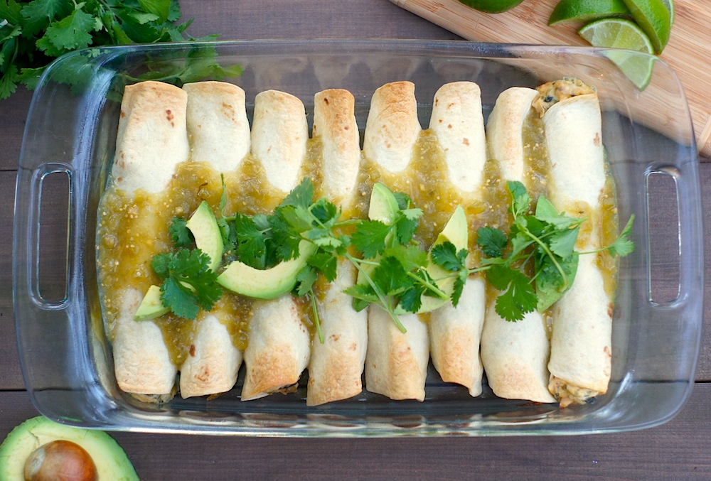 Chicken, Spinach + Pepper Jack Cheese Enchiladas