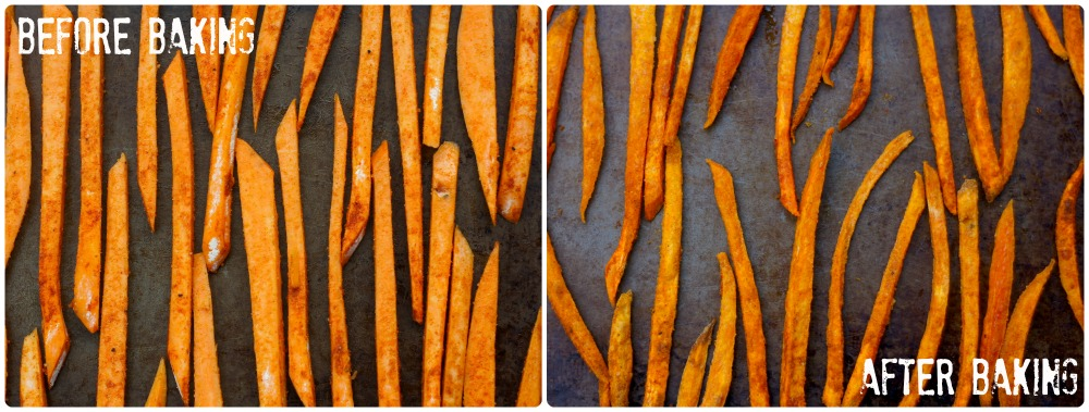 Sweet Potato Fries, before and after baking!
