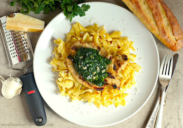 Chicken Florentine -- Tender chicken + sauteed spinach in a decadent, delicious cream sauce. | www.FearlessHomemaker.com