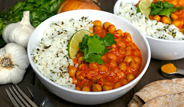 Slow-Cooker Chickpea Coconut Curry: A delicious, simple, flavorful meatless meal -- vegetarian, vegan, + gluten-free! | www.FearlessHomemaker.com