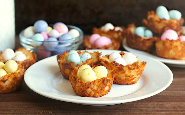 Coconut Macaroon Mini-Egg Nests (perfect for Easter!) | www.FearlessHomemaker.com