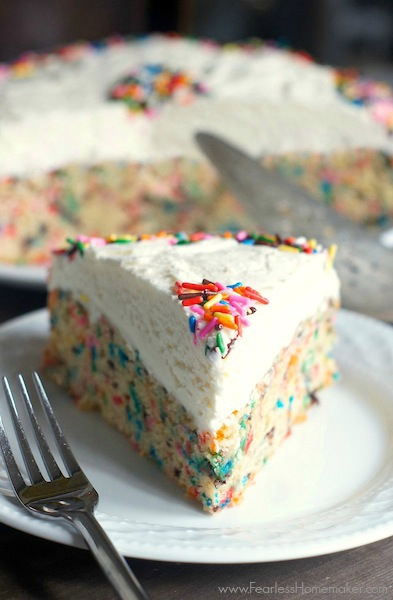 Easy Homemade Funfetti Cake with Vanilla Buttercream | www.FearlessHomemaker.com