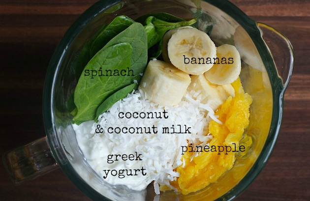 Tropical Green Smoothie (ingredients) | www.FearlessHomemaker.com