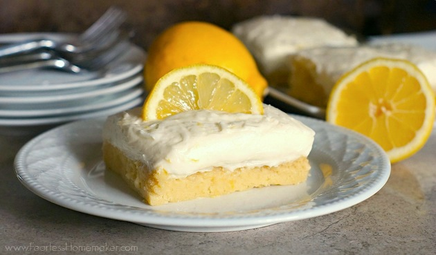 Lemon Sugar Cookie Bars with Lemon Cream Cheese Frosting - a delicious, bright, citrusy springtime treat! | www.FearlessHomemaker.com