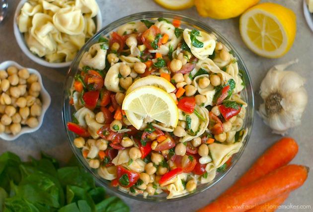 Lemony Tortellini-Chickpea Salad | www.FearlessHomemaker.com