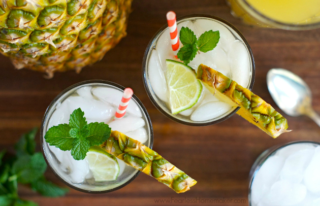 Pineapple, Coconut, + Lime Spritzer: A bright, refreshing, delicious summertime beverage! Perfect as-is, or awesome jazzed up with a splash of rum. www.FearlessHomemaker.com