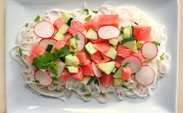 Watermelon-Cucumber Rice Noodle Salad (with Coconut-Lime Dressing) - www.FearlessHomemaker.com