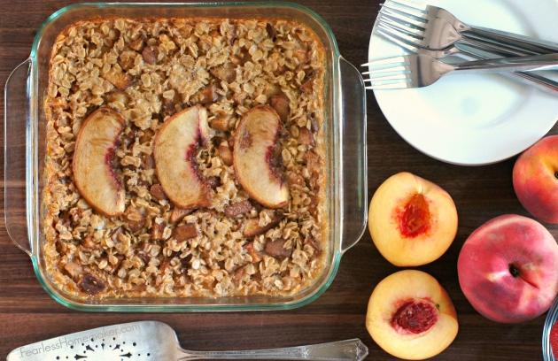 Baked Peach Oatmeal | www.FearlessHomemaker.com