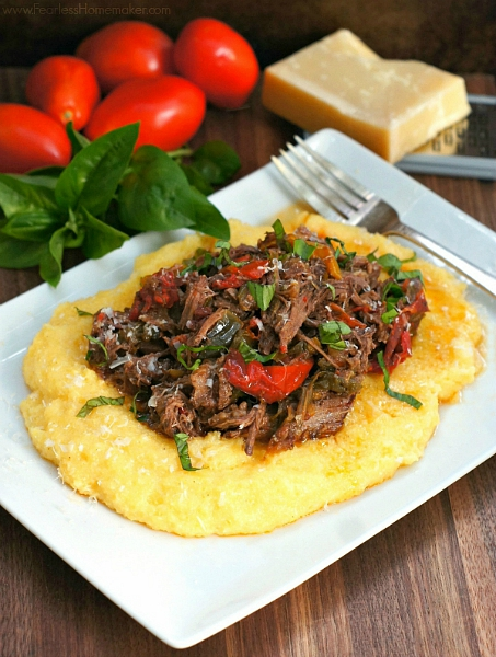 Slow-Cooker Beef and Peppers with Polenta | www.FearlessHomemaker.com