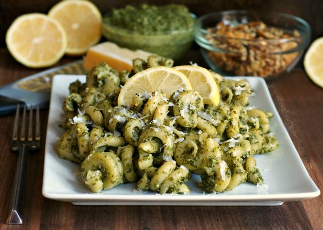 Pasta with Kale and Walnut Pesto | www.FearlessHomemaker.com