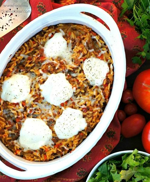Cheesy Orzo, Beef, + Tomato Casserole | www.FearlessHomemaker.com