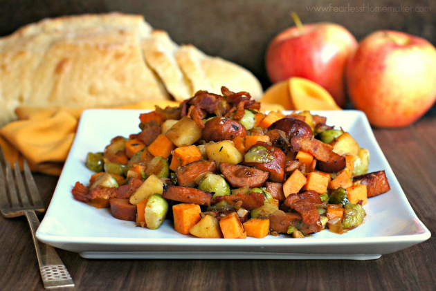 Chicken Sausage Skillet with Sweet Potatoes, Brussels Sprouts, + Apples | www.FearlessHomemaker.com