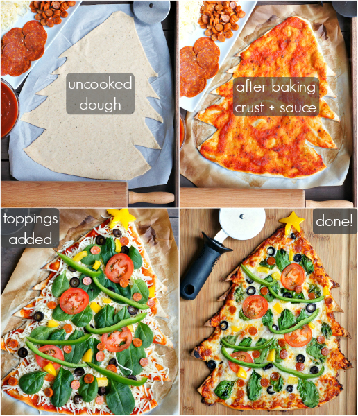 Christmas Tree Thin-Crust Pizza (step-by-step) | www.FearlessHomemaker.com